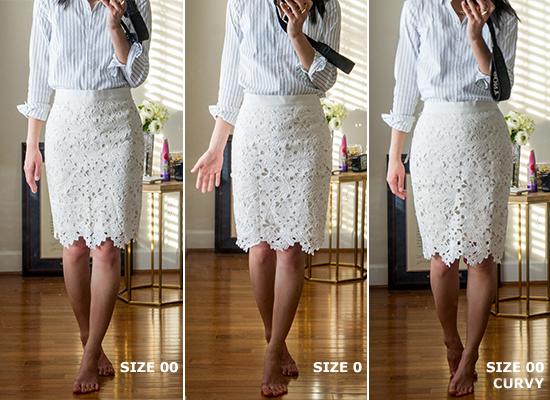 LOFT floral lace pencil skirt