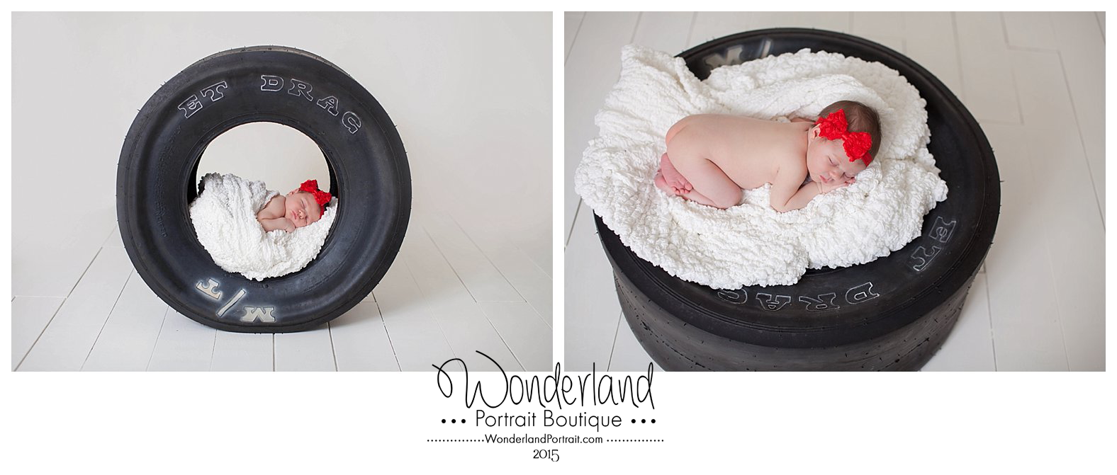 Baby in a Tire Pose Newborn Photography  Churchville PA WonderlandPortrait.com