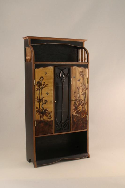 French art nouveau armoire cabinet (Majorelle design)