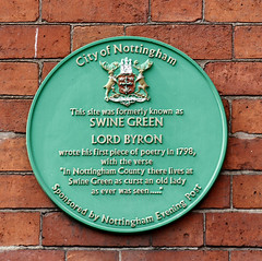 Photo of George Gordon Byron green plaque