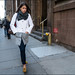 SS4-15  13w white and grey coat grey scarf jeans animal print flats louis vuitton bag