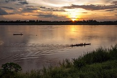 The Dragon Boat Racing training season has begun in Laos. Competitors often train late into the evening on the Mekong River in front of my home. On the nearshore is Laos. Thailand is on the far shore. • • • • • #travel #thailand #laos #sunset #artofvisual