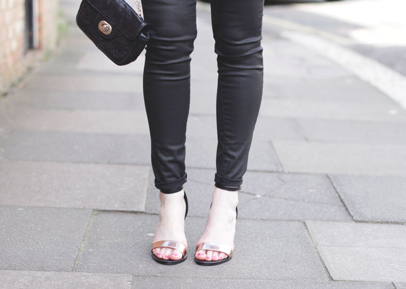 Black skinny jeans and strappy sandals, Bumpkin Betty