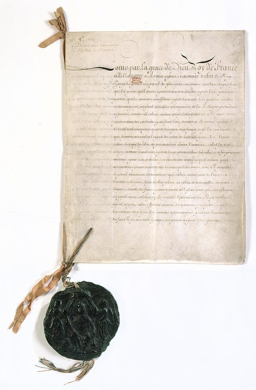 The first page of Edict of Fontainebleau