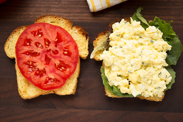 egg salad sandwich assembly