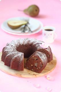 Vegan Chocolate Semolina Cake with Pears and Walnuts