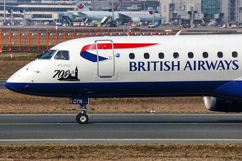 BA CityFlyer Embraer EMB190 taxi out at FRA (G-LCYN)