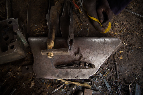A handmade weapon's working parts, Nigeria
