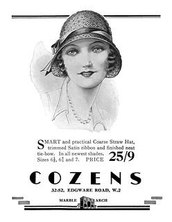 1930 Cozens Hats ad