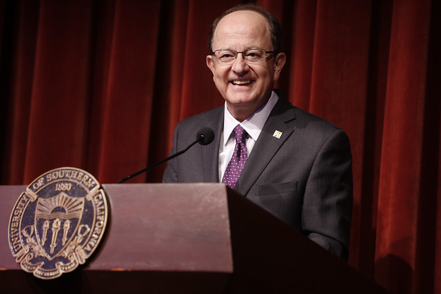 USC President C. L. Max Nikias speaks at the USC Staff Recognition Lunch