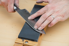 Knife Being Sharpened by Hand