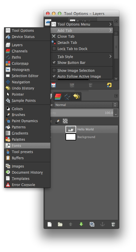 GIMP Adding Fonts Tab