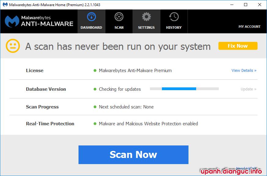 Hướng dẫn kích hoạt bản quyền vĩnh viễn Malwarebytes Anti-Malware Premium 2.2.1.1043