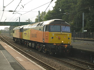"Colas Rail freight Class 47 47739 ""Robin of Templecombe"" and Class 56 56105 trundle through Kings Norton"