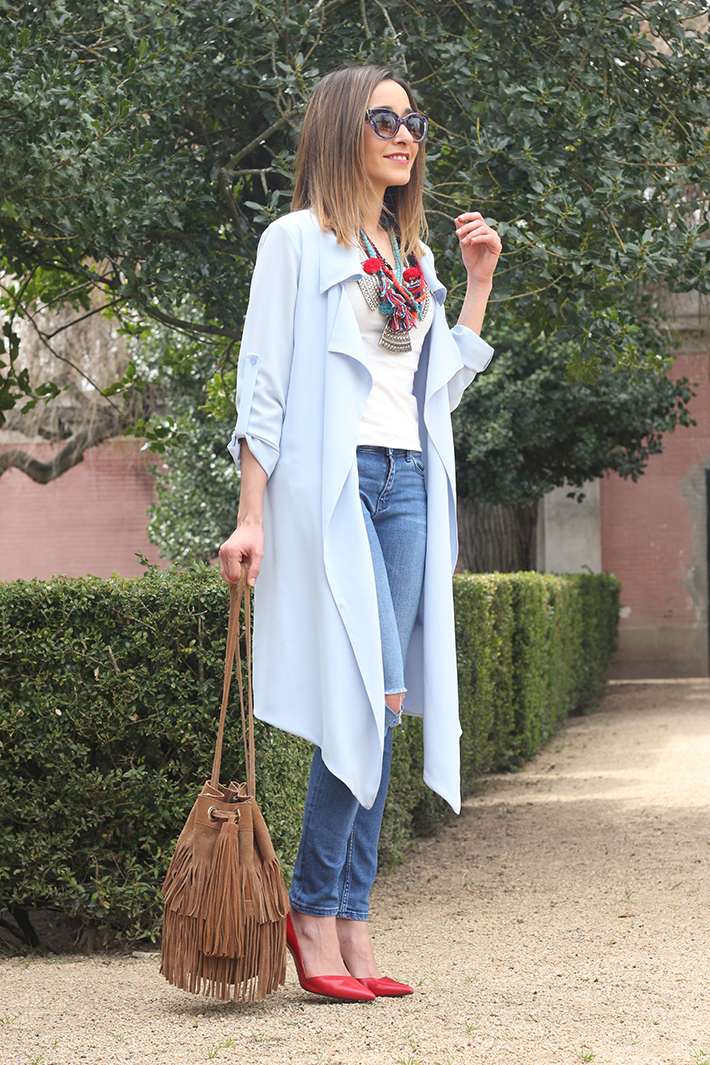blue trench jeans zara fringe bag12