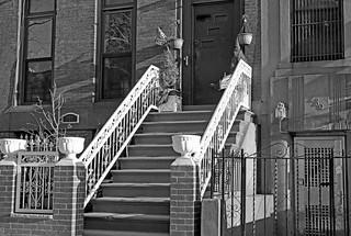 Beautiful Patriotic House entrance b&w