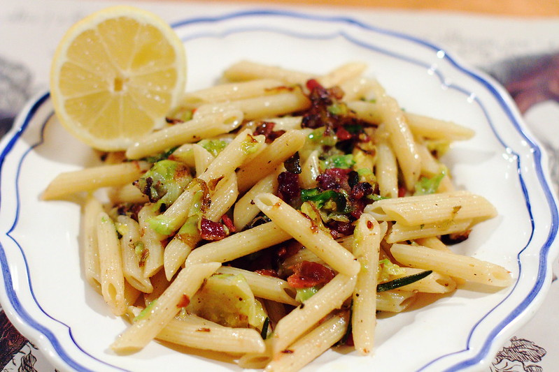 Penne with Brussels Sprouts, Chile and Pancetta