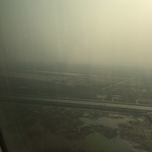 Smog at the approach to Pudong airport