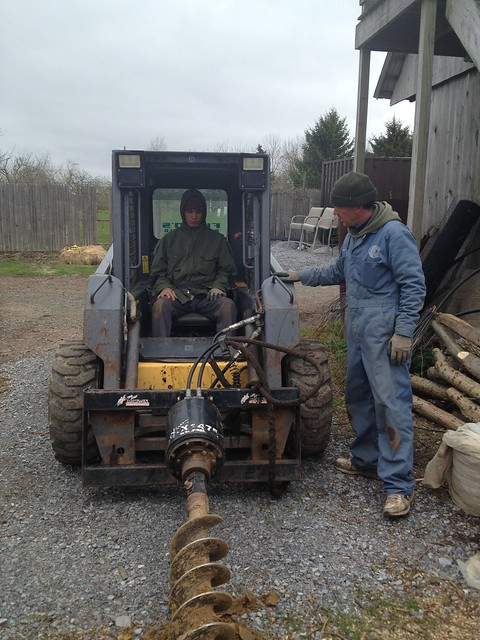 Rented Skid Steer and auger