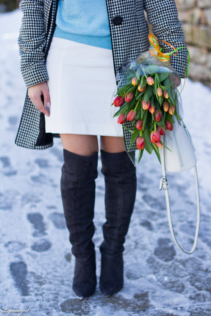 blue sweater, white mini skirt, OTK boots, houndstooth coat-6.jpg