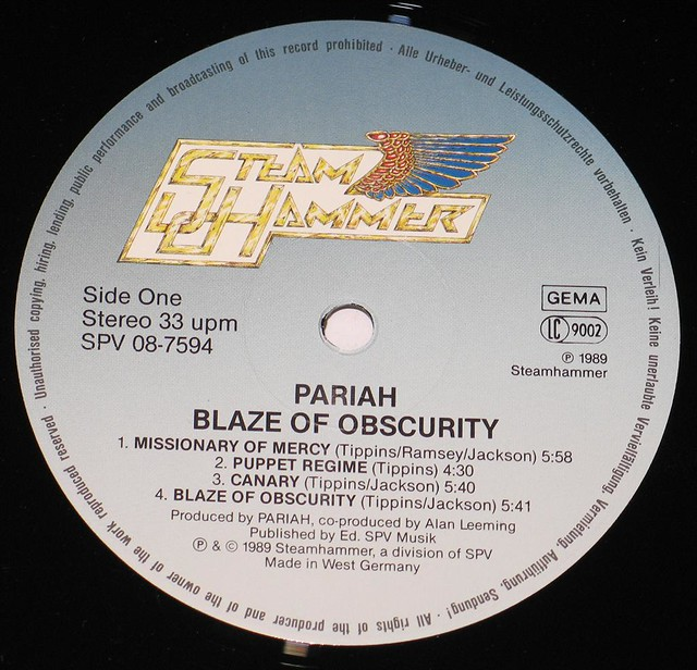 "PARIAH BLAZE OF OBSCURITY NWOBHM 12"" LP"