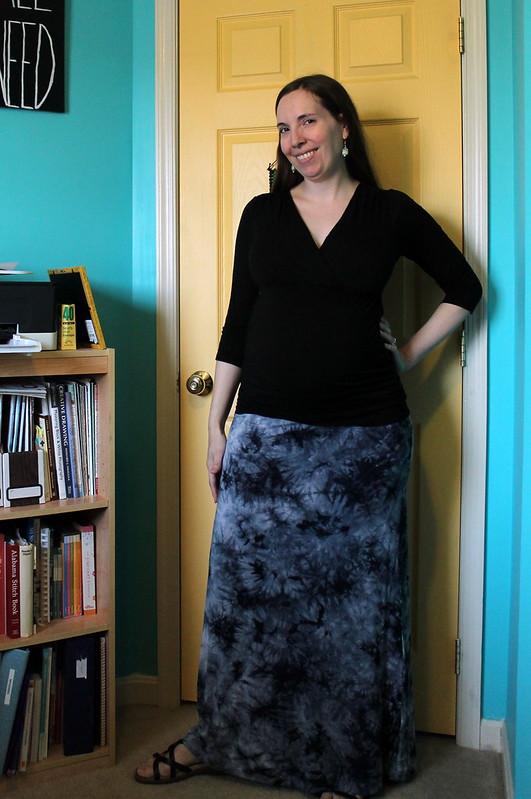 Tie dye maternity skirt front