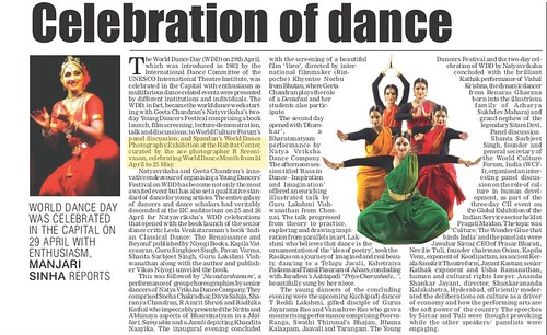 Ms Manjari Sinha's World Dance Day article in Statesman's