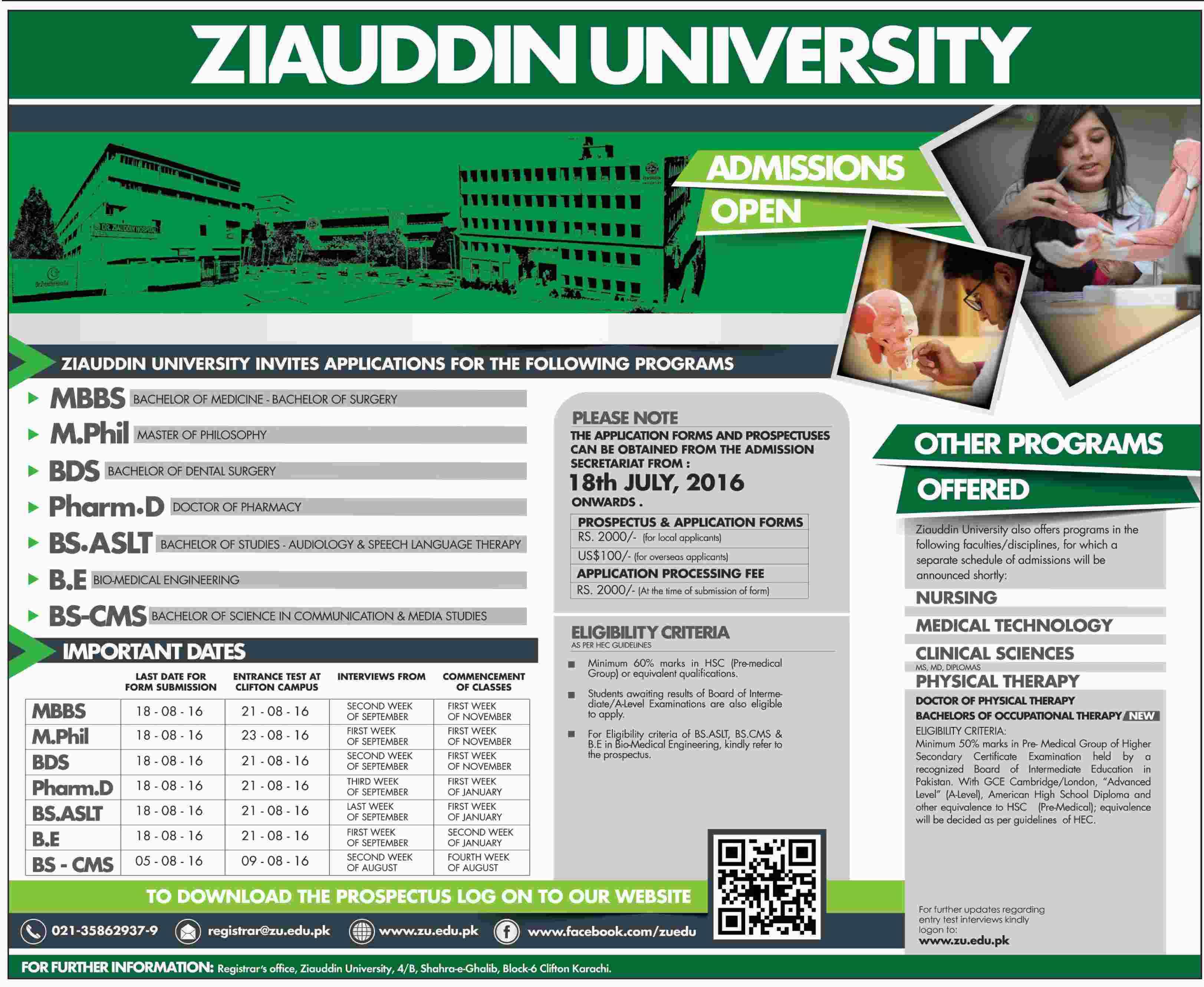 Ziauddin University Admission Open