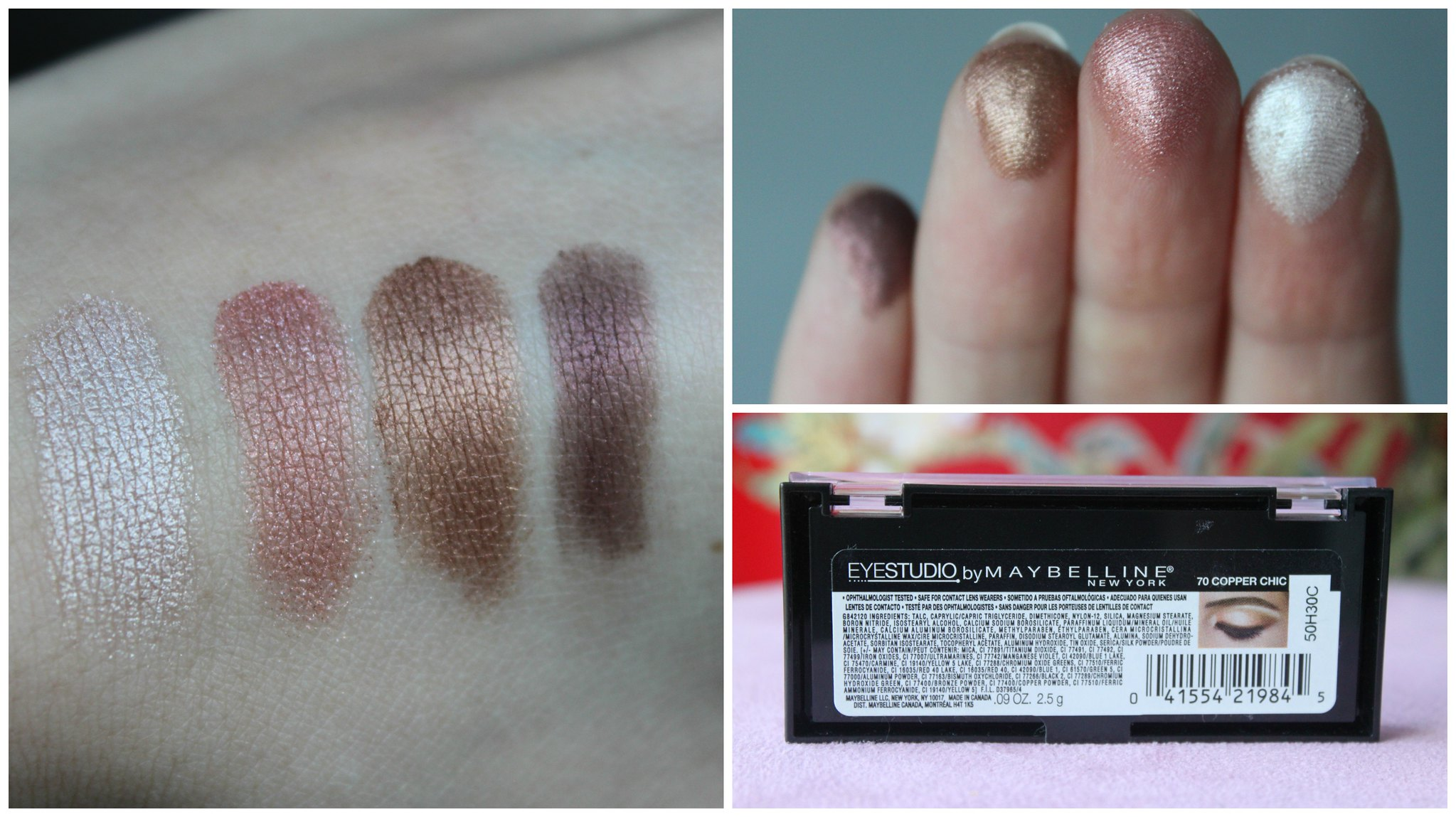 Australian beauty review ausbeautyreview blog blogger aussie Maybelline Eye Studio shadow copper chic drugstore eyeshadow neutral pretty shimmer long lasting priceline swatch