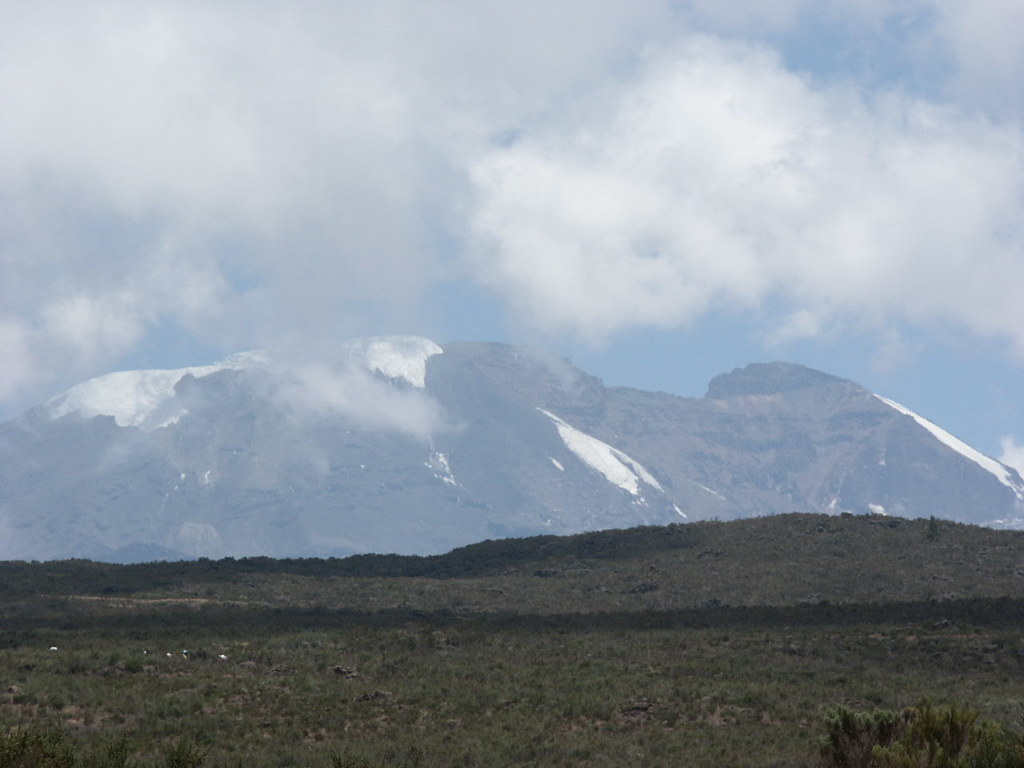 Kibo, the summit crater of Kilimanjaro, on the climb to the Shira Plateau