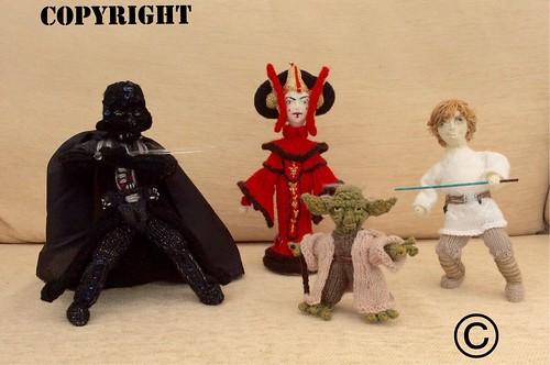 #DarthVadar #Yoda #PadaméAmidala #LukeSkyWalker #knittedicons #dolls  #knitteddoll  #DeniseSalway