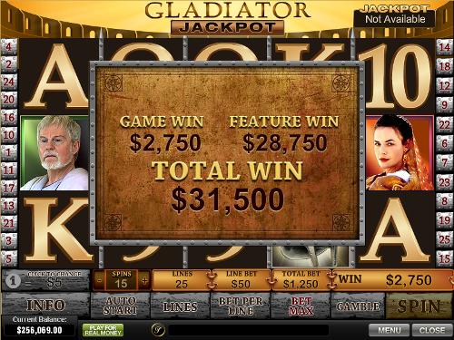 free Gladiator Jackpot slot jackpot win