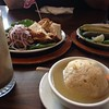 Jewish deli food in Chicago! Chopped liver, giant matzo ball, kosher dills, and root beer float.