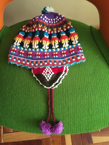 Amantani: bonnet acheté à notre famille d'accueil (pour Miss V)
