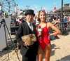 Dr. Takeshi Yamada and Seara (Coney Island Sea Rabbit) with mermaid at the Coney Island Beach in Brooklyn, NY on July 17, 2015.  20150717 100_8844=0010C5. Bay Watch TV series promo