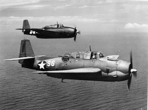 USN TBF-1 Avenger's from Squadron VT-6 during a training flight near the island of Maui Hawaii 1943