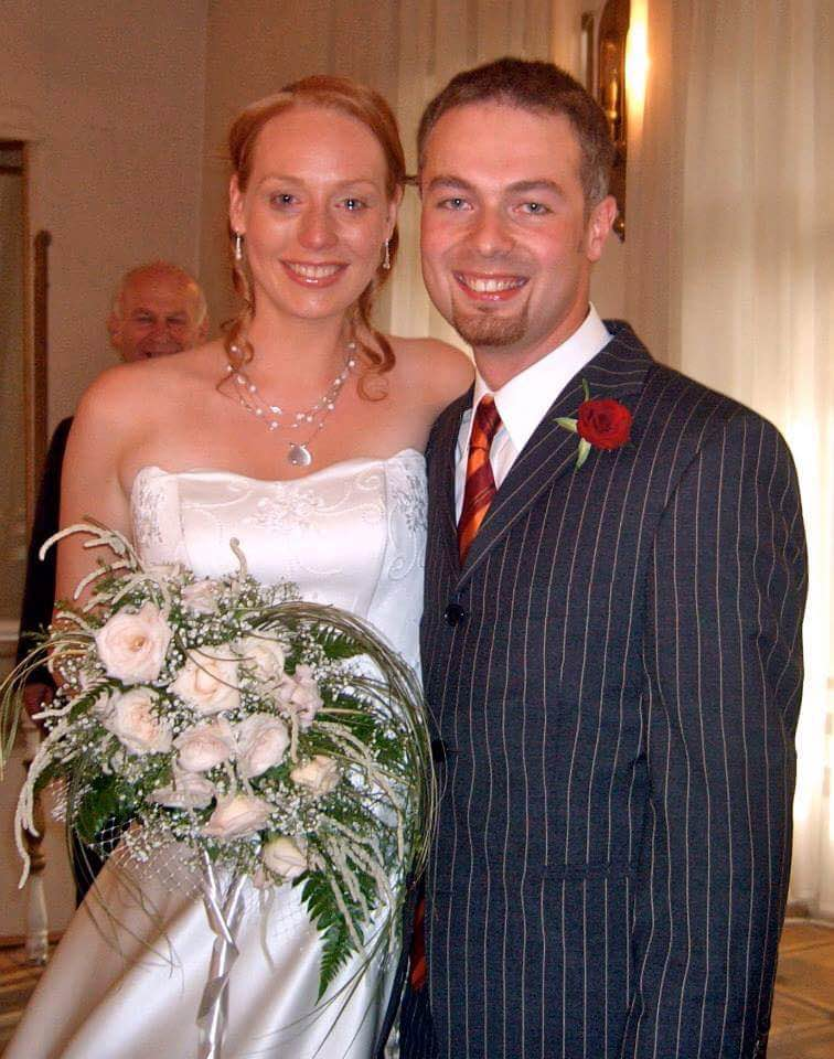 Ellem Wichmann and her husband on their wedding day