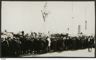 "View of crowds waiting on wharf to see Mawson's ship ""Discovery"" at Port Adelaide. - Photograph courtesy of the State Library of South Australia"