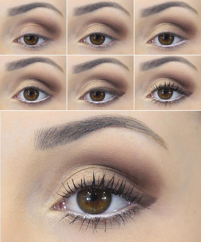 fotorial maquiagem marrom com dourada e delineado marrom