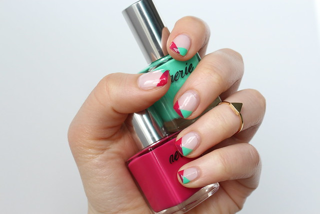 Pink & Sea Foam Geometric Nails | #LivingAfterMidnite