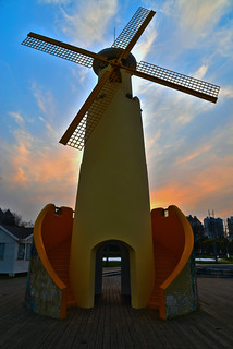 The sunset moment, stay with the beautiful windmill