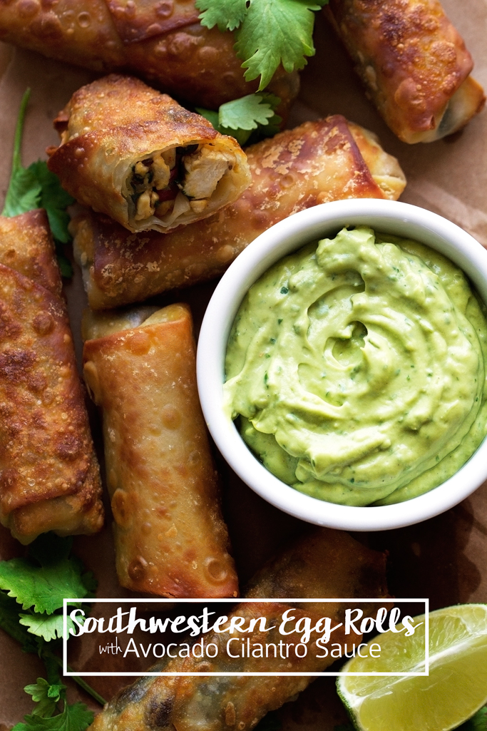 Southwestern Egg Rolls with Avocado Cilantro Dipping Sauce - easy to make, you can bake or fry them, and they store well in the freezer for later use! #eggrolls #southerneggrolls #avocadosauce   Little Spice Jar