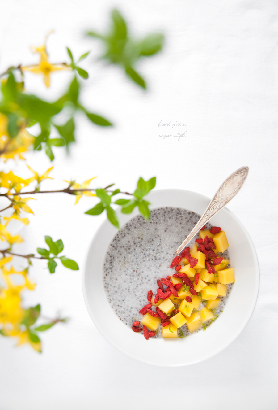 Chia pudding with young coconut meat and mango