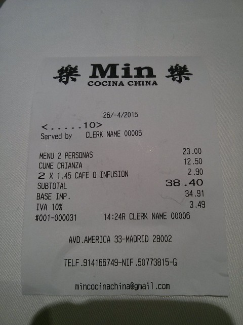 Madrid | Restaurante Min | Ticket
