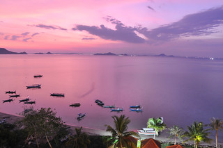 Pink sunset in Labuan Bajo from the hotel