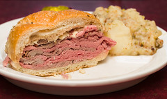Roast Beef on Kummelweck Sandwich