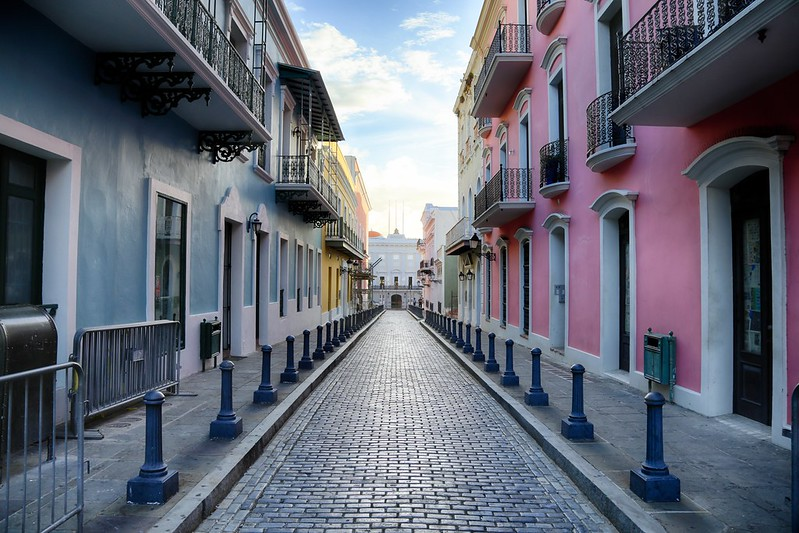 Cobblestone path in Old San Juan, Puerto Rico.