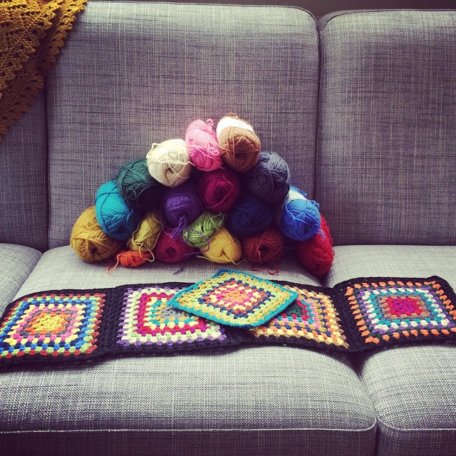 When you have too much #kambgarn, make a BIG #grannysquareblanket using all the #colours