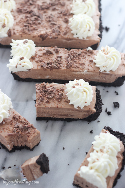 The BEST Chocolate Malted Mousse Tart. An Oreo crust is filled with a light, chocolate mousse.