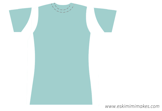 Modified t-shirt shape, ready to sew